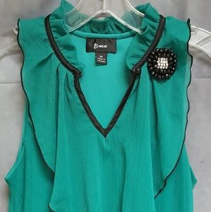 B Wear Green Layered Blouse Lined Camisole